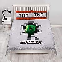 Character World Minecraft Dynamite - Funda de edredón para Cama de Matrimonio, Reversible, con Fu...