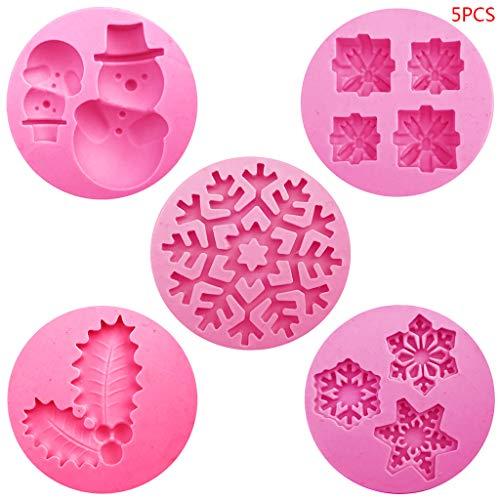 Set di 5 stampi in silicone a forma di pupazzo di neve, per decorare torte e cioccolatini, accessori da cu