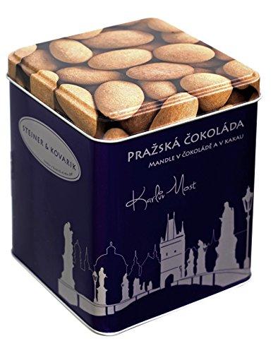 Mandeln in Zartbitterschokolade mit Kakao 200 gr. - Hochwertige in Handarbeit hergestellte edle Zartbitterschokolade - Ein purer Genuss aus Schokolade, verpackt in einer edlen Blechdose (Kakao Mandeln)