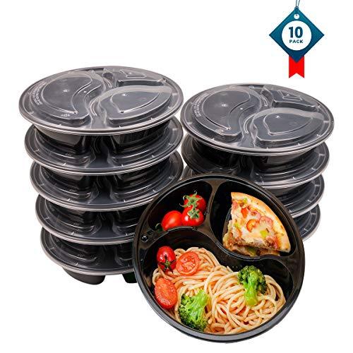 OITUGG 3 Scomparti Contenitori Alimentari con Coperchio, Impilabile, Lavabile in Lavastoviglie e Microonde, Set di Scatole da Pranzo-10 Pack by