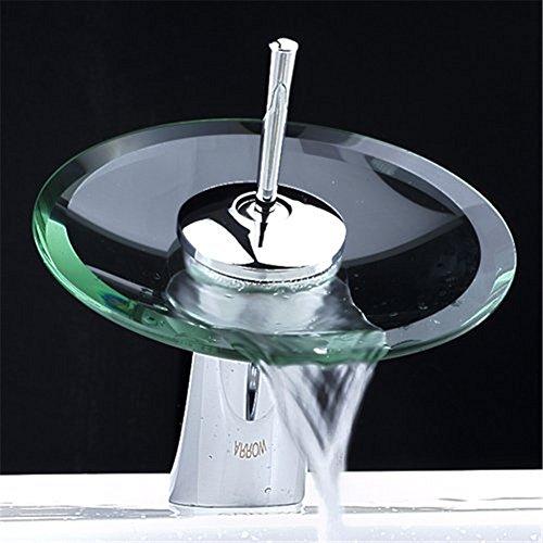 Moderna vetro beccuccio bagno rubinetto cascata lavello miscelatore del bacino dell'acqua calda e fredda Rubinetti bocca grande leader creativi rubinetti lavabo personalità foro singola maniglia in finitura cromata Vanity WC rubinetti
