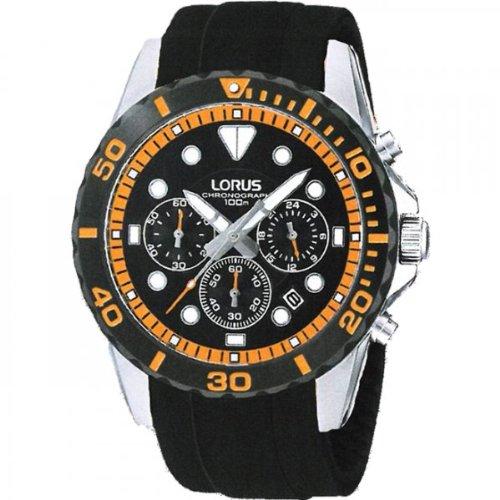 Lorus Gents Black Rubber Chronograph Watch RT367BX9 RT367BX9