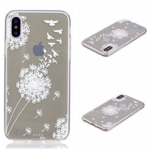 iPhone X Hülle, Voguecase Silikon Schutzhülle / Case / Cover / Hülle / TPU Gel Skin für Apple iPhone X(Campanula Blumen) + Gratis Universal Eingabestift Wildgans Löwenzahn