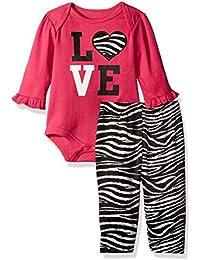 BON BEBE Baby Girls' 2 Piece Lap Shoulder Bodysuit and Velour Legging Set