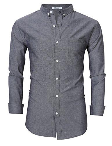 Kuulee Herren Hemd Slim Fit Langarmhemd - Baumwolle/Denim (Jeanshemd) - Für Anzug, Business, Freizeit Grau 2XL