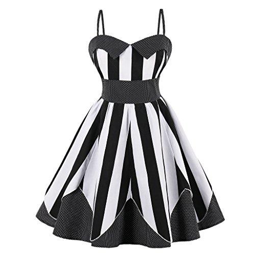 VERNASSA Vestido de Noche Retro para Mujer, Vestidos de Fiesta Rockabilly de los años 50,Vestido de oscilación con Estampado Floral de Polka Pinup, S-4XL