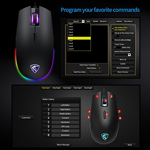 Gaming Mouse Rgb,xergur 6 Dpi Mode Programmable 8 Buttons Backlit Optical Usb Wired Gaming Mice, Pc Computer Laptop Mouse,16 Million Led Color Support Macro Editor,for Pro Gamer Win 1087
