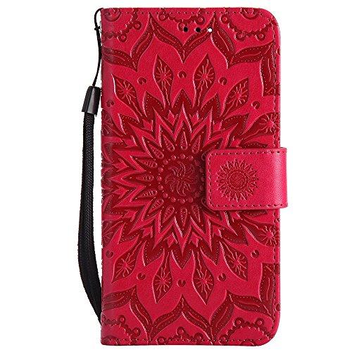 Für Huawei NOVA Fall, Prägen Sonnenblume Magnetische Muster Premium Soft PU Leder Brieftasche Stand Case Cover mit Lanyard & Halter & Card Slots ( Color : Pink ) Red
