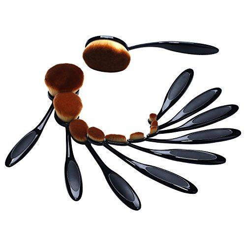 niceEshop(TM) 10 Pcs Pinceaux de Maquillage Professionnels en Forme de Brosse à Dents Pour Visage, Fard à Paupières, Poudre et Fondation (Noir et Brun)