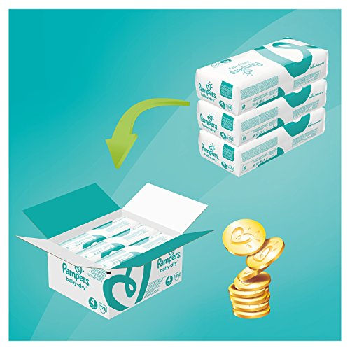 Pampers Baby-Dry Size 4, 174 Nappies, 9-14 kg, Air Channels for Breathable Dryness Overnight, Monthly Pack