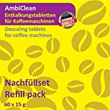 AmbiClean 60 Entkalker-Tabletten für Kaffeevollautomat, Kaffee-Maschine, Kapselmaschine und Wasserkocher | Kalk-Entferner Kompatibel mit Saeco, Melitta, Senseo, Nespresso UVM