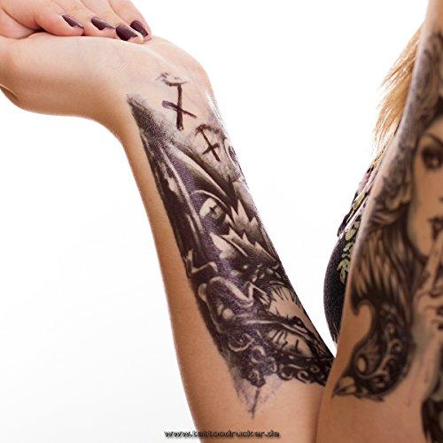 Temporäre Körperkunst entfernbares Tattoo - Uhr, Clock. Zombie, Tod Armtattoo - Temporary Fake Tattoo (1 x Arm Tattoo)