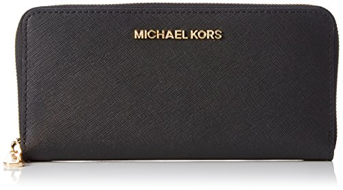 Michael Kors Damen Jet Set Zip Around Continental Geldbörsen, Schwarz (Black 001), 20x10x3 cm
