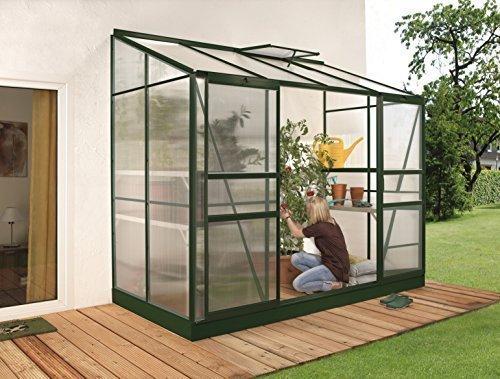 Gartenwelt Riegelsberger Anlehngewächshaus Ida – Ausführung: 3300 HKP 4 mm dunkelgrün, Fläche: ca. 3,3 m², mit 1 Dachfenster, Sockelmaß: 1,28 x 2,54 m