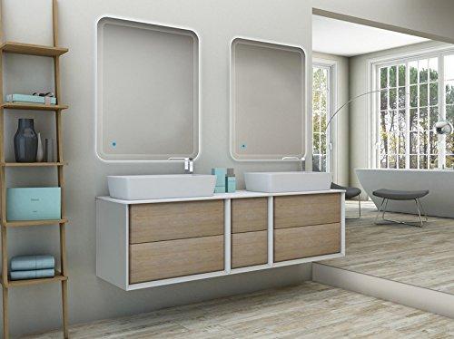 Mobile bagno sospeso moderno bellagio sospeso rovere tabacco, misura cm 175, con specchio a led, top e lavabo