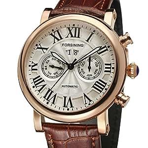 Beauty cadeau Relojes Hombre Forsining marque Luxe Or Rose Affichage automatique de montre en cuir véritable marron Fsg M R