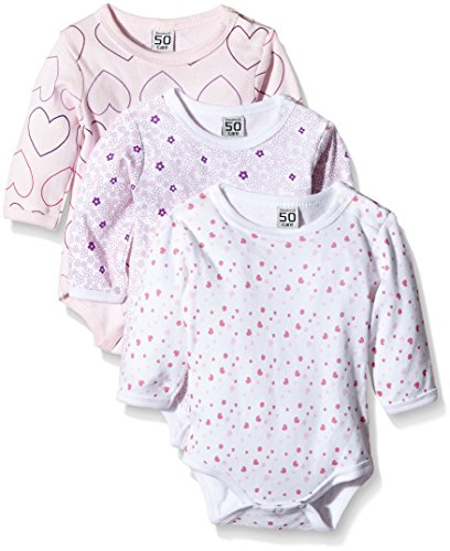 Care Baby - Mädchen Langarm-Body im 3er Pack, All over print, Gr. 56, Rosa (Light red 500)