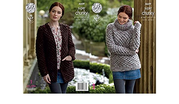 397ea76d1 King Cole Ladies Super Chunky Knitting Pattern Womens Polo Neck Sweater    Cardigan (4609)  Amazon.co.uk  Kitchen   Home