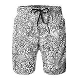 Huabuqi Doodle Mania - Paisley_1700 Shorts da Uomo Shim Trunks Surf Beach Holiday Party Costume da Bagno Pantalone da Spiaggia M