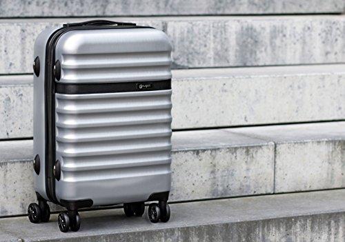 bugatti, Corium, 4 Doppel-Rollen Kabinen-Hartschalen Koffer, leichter Trolley, S - 55 cm, TSA Schloss, 34 l, 3.01 kg, silber - 2