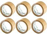 6 Rollen Klebeband Packband 50m X 48mm extra stark und leise abrollen Farbe Braun)