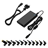 90W Chargeur universel pour ordinateur portable Adaptateur secteur mince Cordon d'alimentation multi-embouts Compatible avec Dell HP Asus Lenovo IBM Samsung Acer Toshiba Sony & 5V Devices (noir)