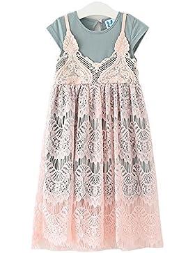 Cozofluv vestido sin mangas y con cordón para niña pequeña Vestido algodón es en forma de pequeña princesa