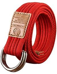 Sitong unisex del color del caramelo ocasional cintur¨®n de hebilla de doble bucle de lona (18 colores)