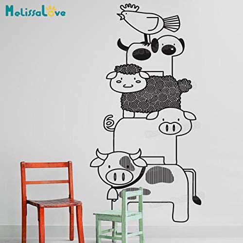 zhuziji Nuovo Design Adesivo da Parete per Bambini Animali impilati Decalcomanie per Camera dei Bambini Adesivo da Parete in Vinile autoadesivi 3D Gif Unico Nero 56x125 cm