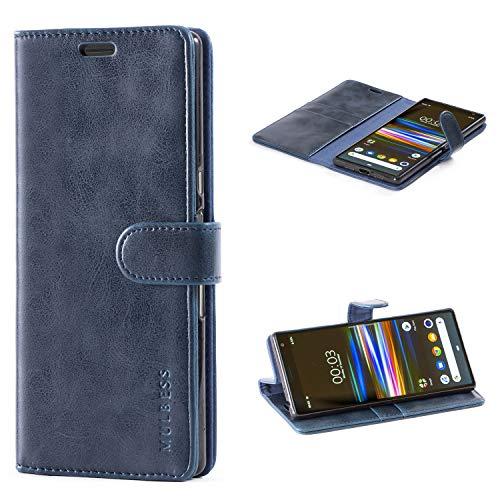 Mulbess Handyhülle für Sony Xperia 10 Plus Hülle, Leder Flip Case Schutzhülle für Sony Xperia 10 Plus Tasche, Dunkel Blau