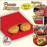 Vinallo - Bolsa de microondas para cocinar patatas, 2 unidades, patatas perfectas en 4 minutos, color rojo