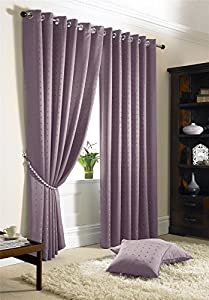 "Jacquard Check Lined Heather Purple 66"" X 90"" - 168cm X 229cm Ring Top Curtains from Curtains"