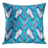 Cupsbags Throw Pillow Cover Abstract Colorful Chevron Tradition Stylish Zig Zag Ikat Ethnic Decorative Pillow Case Home Decor Square 18x18 Inches Pillowcase