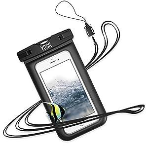 YOSH Pochette Étanche Housse Coque Étanche pour iPhone X 8 7 6S 6 Plus Samsung Galaxy S8 S7 S6 Edge Smartphones Universel Jusqu'à 6 Pouces [Garantie à Vie] (Noir) …