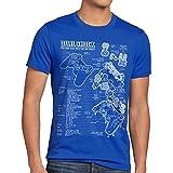 style3 Dualshock Controller Blaupause Herren T-Shirt PS Gamepad Konsole, Größe:M, Farbe:Blau