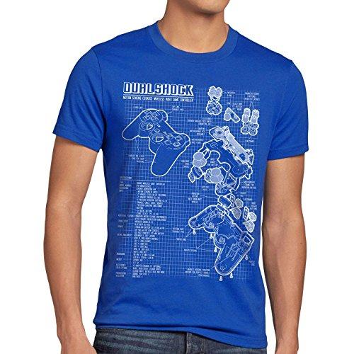 style3 Dualshock Controller Blaupause Herren T-Shirt PS gamepad konsole, Größe:L;Farbe:Blau