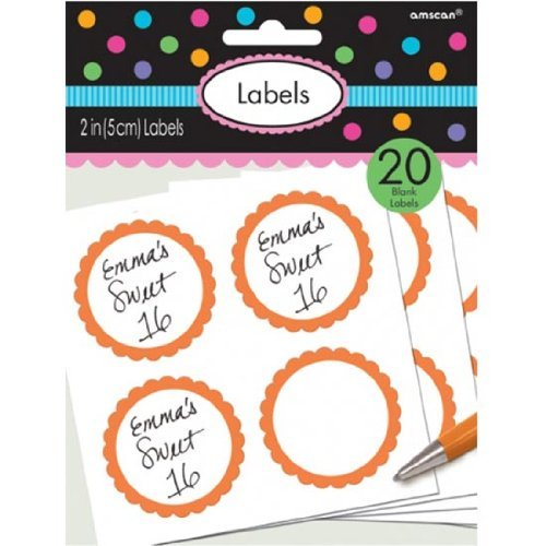 Candy Buffet Scalloped Labels Orange /5 (Orange Buffet Candy)