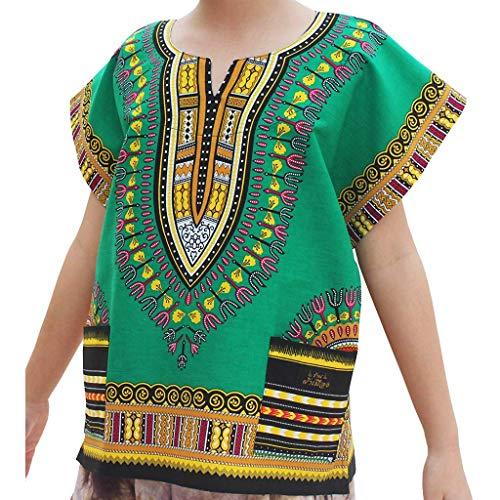 CUTUDE Vetement Fille Garçon Enfant Manches Courtes T-Shirts Adolescent Décontractée Africain Style Ethnique Imprimé Dashiki Tops Tee Gilet Chemise avec Poche