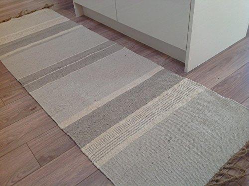 Algodón Natural y yute color gris crema irregulares rayas alfombra 70cm x 130cm