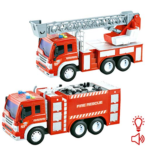 deAO Toys Feuerwehrfahrzeug und Feuerwehrfahrzeug mit Rettungsleiter im Maßstab 1:16 mit Licht- und Soundfunktionen - Spielzeuge für die Früherziehung von Kleinkindern und Kindern (2 Pack) (Fahrrad-licht 2er-pack)