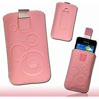 Tasche Etui Hülle Case Kunstleder mit Ausziehband und Klettverschluss Design circle4 für Huawei Ascend G525 / G510 rosa