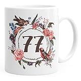 MoonWorks Geburtstags-Tasse 77 siebenundsiebzig Geschenk-Tasse Kaffee-Tasse Blumen Blüten Blumenkranz weiß Unisize