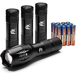 LED Taschenlampe Set – Superhelle Handlampe + 3 Mini Lampe Pack Handlich Perfekte Lampe für Camping Notfall Wandern Hund Flashlight Outdoor für Mann Frau – Aluminium Schwarz