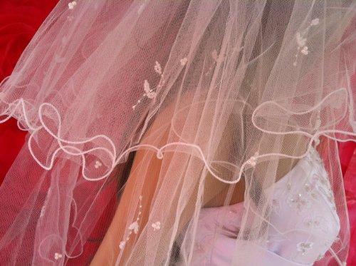 ladyMYP© 2lg Brautschleier, Kurbelkante, Blütenrispen aus Satin und Perlen, 50/68 cm, weiß / ivory(hellcreme, Elfenbein) (Ivory(Hellcreme))