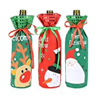 BUONDAC 3pcs Christmas Wine Bottle Cover Christmas Decoration Wine Bottle Bag for Home Table Dinner (Reindeer, Santa Claus, Snowman)