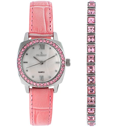 Peugeot Femme Cuir Rose Cristal de montre et bracelet de tennis Ensemble cadeau