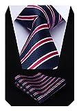Hisdern Herren Krawatte Gestreifte Hochzeit Krawatte & Einstecktuch Set Marineblau und Rot