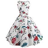 UFACE 50s Retro Vintage Rockabilly Kleid Partykleider Cocktailkleider (GW-Weiß, S)