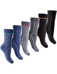 6 Paar warme Damen Thermo Socken - Vollfrottee - Pique-Komfortbund - Handgekettelte Spitze - von celodoro