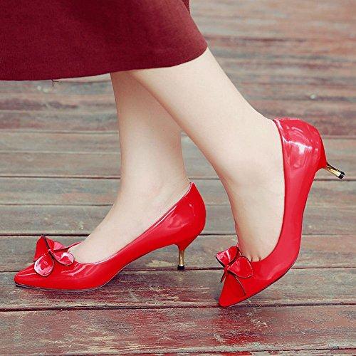 Mee Shoes Damen modern süß Kitten-Heel spitz mit Schleife Geschlossen Lackleder Pumps Rot